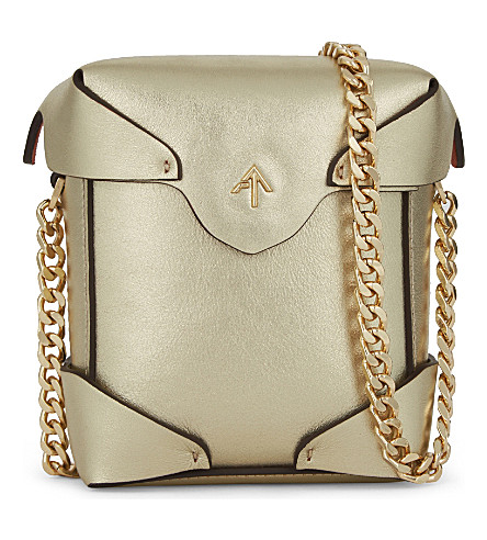 MANU ATELIER Micro pristine leather cross-body bag (Gold