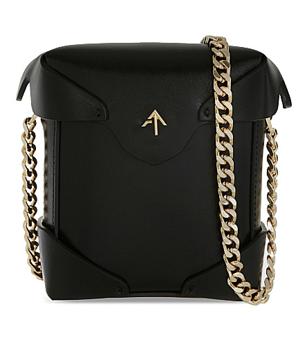MANU ATELIER Micro Pristine leather shoulder bag (Black