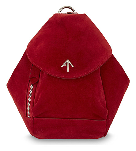 MANU ATELIER Mini fernweh suede backpack (Red