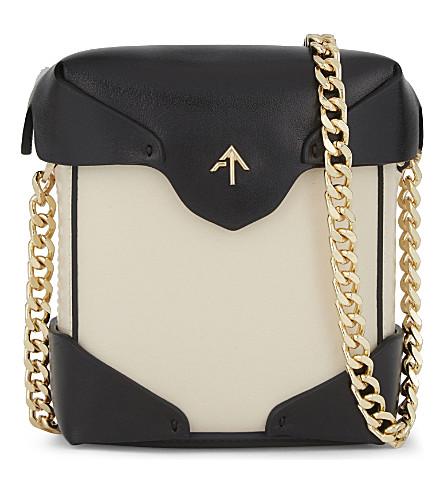 MANU ATELIER Micro pristine leather cross-body bag (Black/light+beige