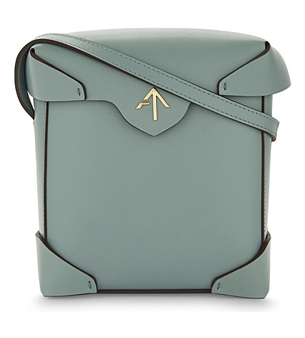 MANU ATELIER Mini Pristine leather cross-body bag (Water green