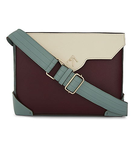 MANU ATELIER Bold leather and suede cross-body bag (Burgu/green/beige/mint