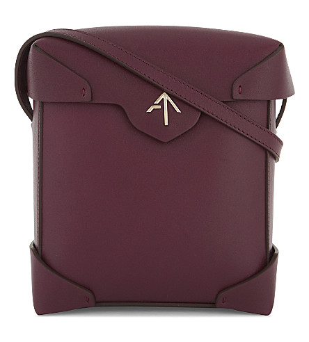 MANU ATELIER Mini Pristine leather cross-body bag (Burgundy