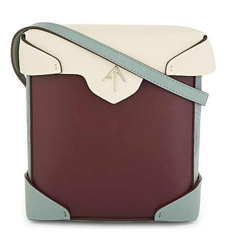 MANU ATELIER Mini Pristine leather and suede cross-body bag (Burgu/green/beige/mint