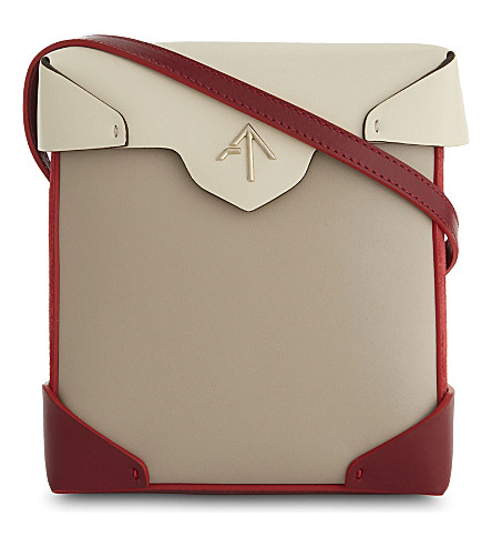 MANU ATELIER Mini Pristine leather and suede cross-body bag (Ice+beige/red/ligh+beige