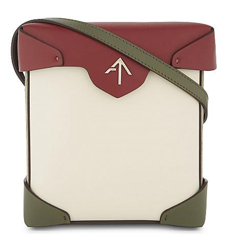 MANU ATELIER Mini Pristine leather and suede cross-body bag (Light+beige/khaki/redbol