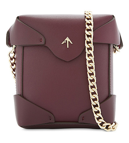 MANU ATELIER Micro Pristine leather cross-body bag (Burgundy