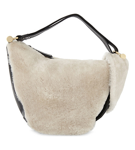 MANU ATELIER Fernweh micro leather and shearling tote (White/black