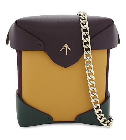MANU ATELIER Micro Pristine leather cross-body bag (Mustard/green/violet