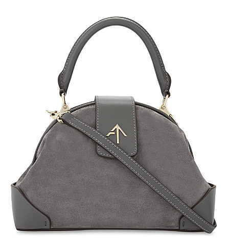 MANU ATELIER Demi leather and suede cross-body bag (Grey