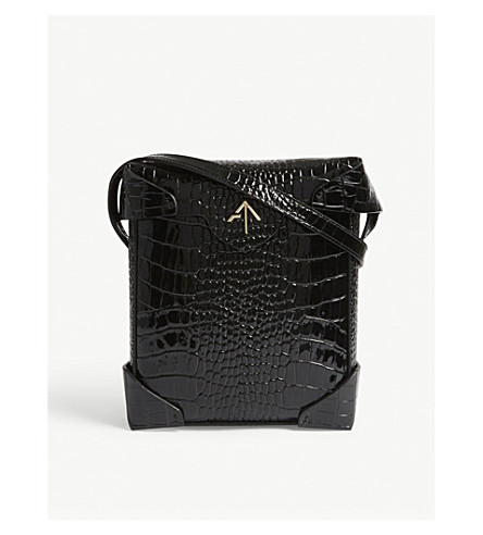MANU ATELIER Mini Pristine leather shoulder bag (Black