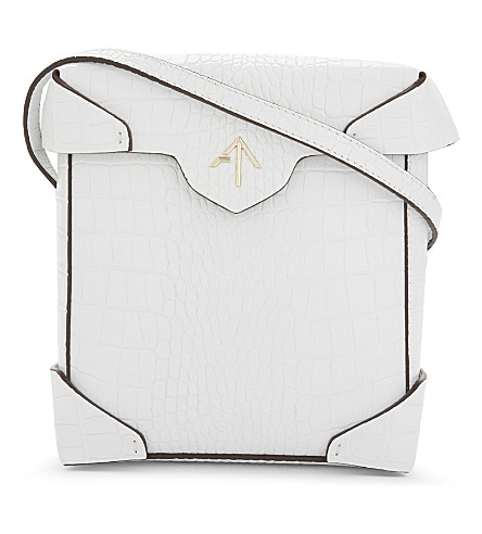 MANU ATELIER Mini Pristine croc-embossed leather cross-body bag (White