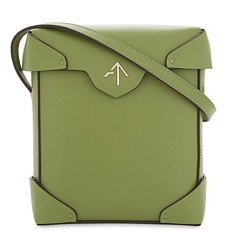 MANU ATELIER Pristine mini leather shoulder bag (Linen+green