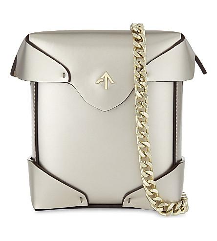 MANU ATELIER Micro Pristine metallic leather cross-body bag (Gold