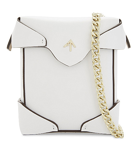 MANU ATELIER Micro Pristine leather cross-body bag (White