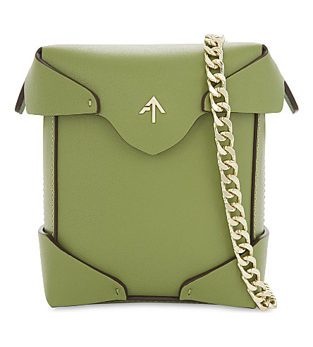 MANU ATELIER Micro Pristine leather cross-body bag (Linen+green