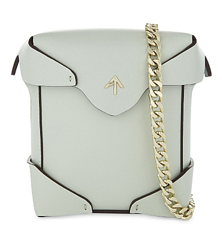 MANU ATELIER Micro Pristine leather cross-body bag (Mint