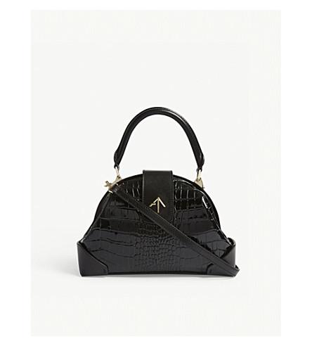 MANU ATELIER Demi crocodile-embossed leather cross-body bag (Black
