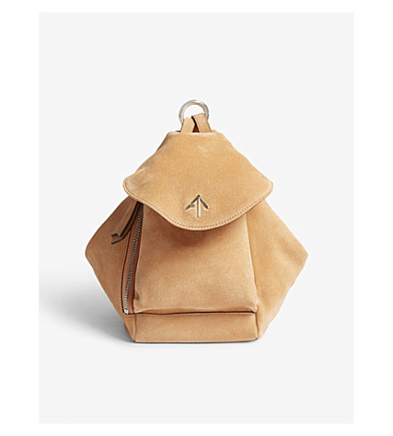 MANU ATELIER Mini Fernweh suede leather bag (Antique+peach