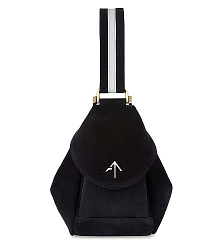 MANU ATELIER Micro Fernweh suede clutch bag (Navy/white