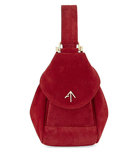 MANU ATELIER Micro Fernweh suede clutch bag (Red