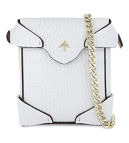MANU ATELIER Micro Pristine croc-embossed leather cross-body bag (White