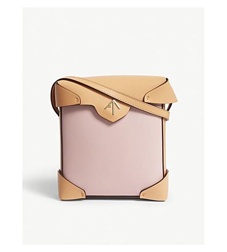 MANU ATELIER Mini Pristine colour-block leather cross-body bag (Bubblegum/antiq+peach