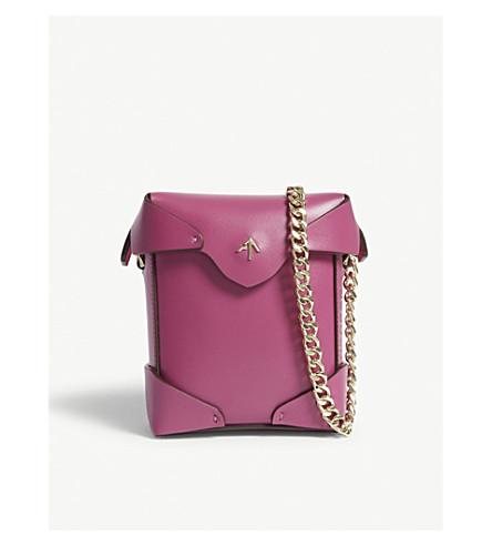 MANU ATELIER Micro pristine leather cross-body bag (Fuchsia