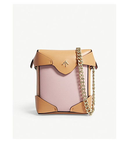 MANU ATELIER Micro Pristine colour-block leather cross-body bag (Bgum/antiq+pch