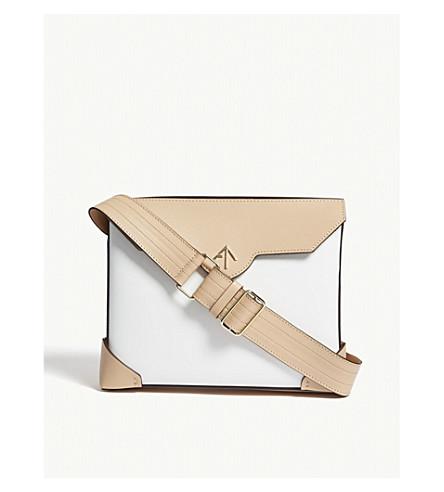 MANU ATELIER Bold leather shoulder bag (Champagne+wht
