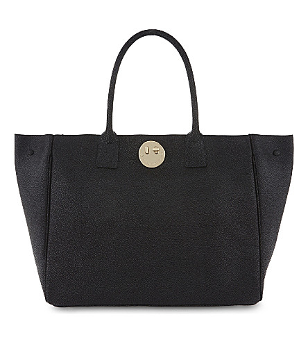 HILL AND FRIENDS Happy liquoruce pebbled leather tote (Black/gold