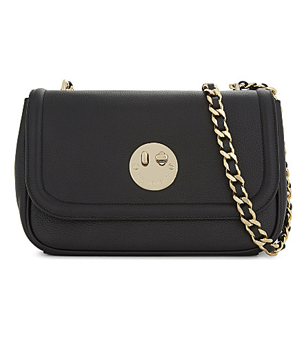 HILL AND FRIENDS Happy medium grained leather cross-body bag (Black/gold