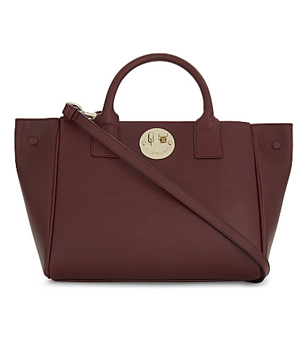 HILL AND FRIENDS Happy mini leather tote (Oxblood