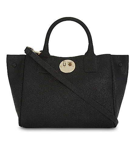 HILL AND FRIENDS Happy mini pebbled leather tote (Black/gold