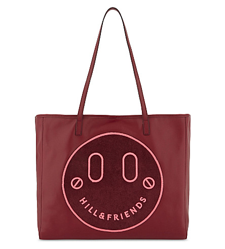 HILL AND FRIENDS Happy slouchy leather tote (Oxblood+-+pink