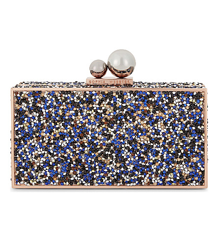 SOPHIA WEBSTER Clara embellished clutch bag (Midnight+dusk+crystal