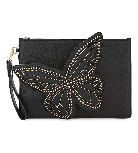 SOPHIA WEBSTER Flossy butterfly leather clutch bag (Black
