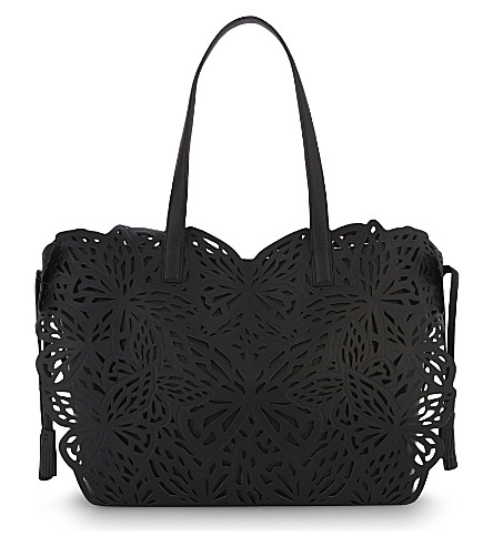 SOPHIA WEBSTER Liara laser-cut butterfly leather tote (Black