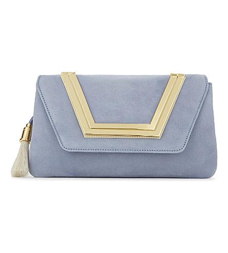AME MOI Sapphire suede clutch (Cornflour blue