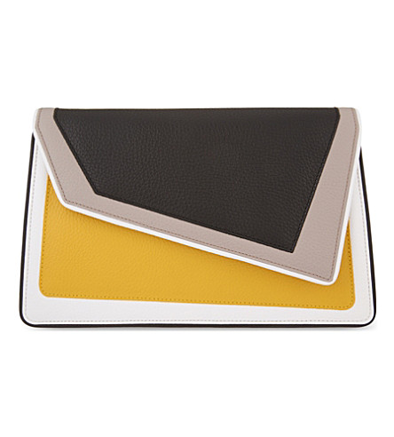 AME MOI Chiado leather clutch (Black/mustard