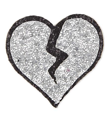 I KNOW THE QUEEN Broken heart glitter sticker (Silver