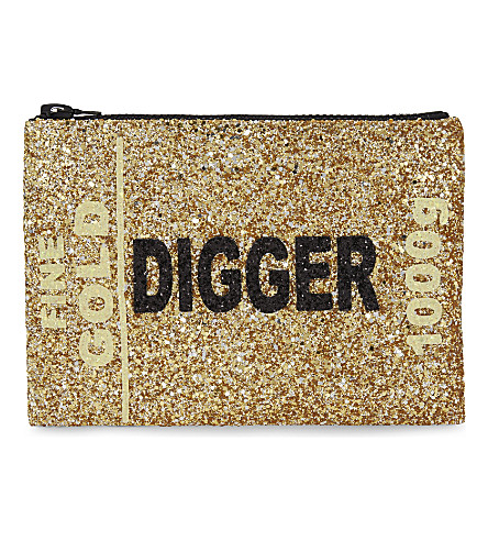 I KNOW THE QUEEN Gold Digger glitter clutch (Multi