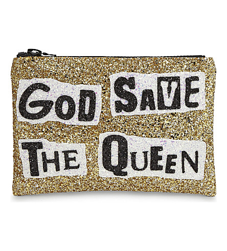 I KNOW THE QUEEN God save the queen glitter clutch (Multi