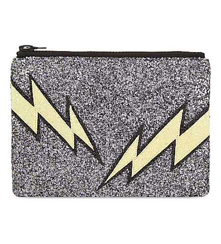 I KNOW THE QUEEN Lightning glitter clutch (Multi