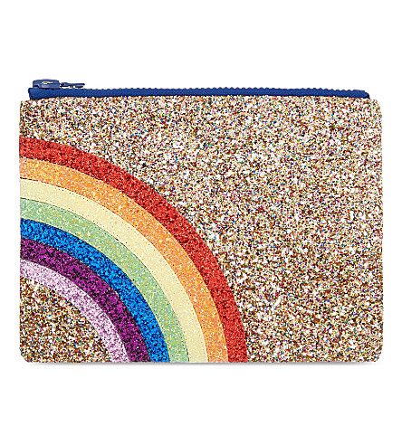 I KNOW THE QUEEN Rainbow glitter clutch (Multi