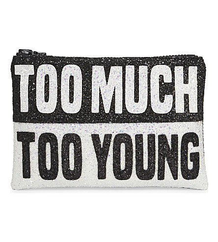 I KNOW THE QUEEN Too much too young glitter clutch (Multi