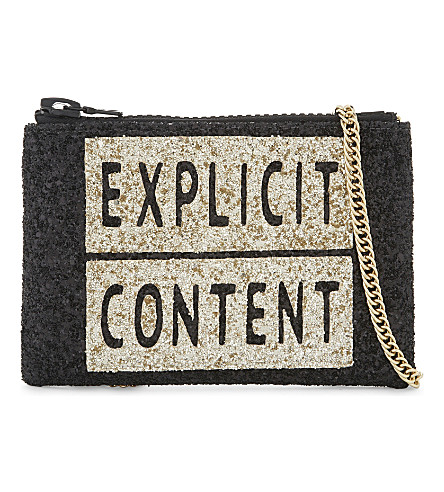 I KNOW THE QUEEN Explicit content glitter cross-body bag (Gold/black