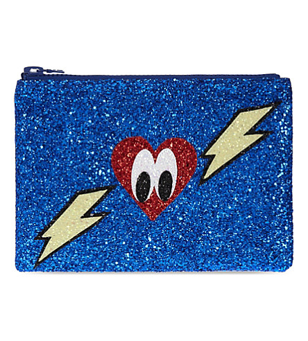 I KNOW THE QUEEN Lightening heart glitter clutch (Blue