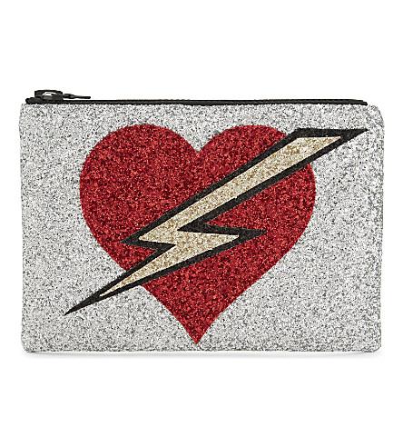 I KNOW THE QUEEN Lightening heart glitter clutch (Multi