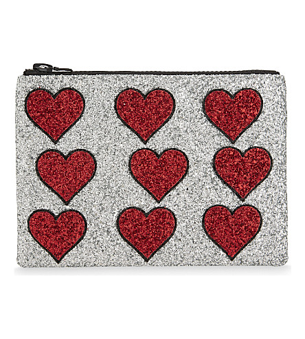 I KNOW THE QUEEN Hearts glitter clutch (Multi